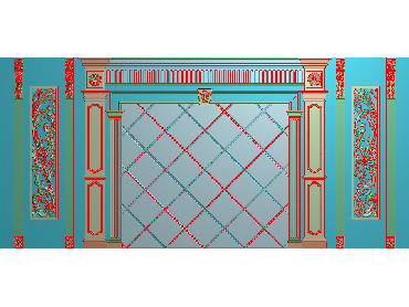 OBJQ029-JDP格式欧式整体背景墙精雕图电视背景墙电脑雕刻图背景墙浮雕精雕图(含灰度图)