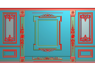 OBJQ031-JDP格式欧式整体背景墙精雕图电视背景墙电脑雕刻图背景墙浮雕精雕图(含灰度图)