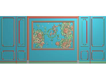 OBJQ032-JDP格式欧式整体背景墙精雕图电视背景墙电脑雕刻图背景墙浮雕精雕图(含灰度图)