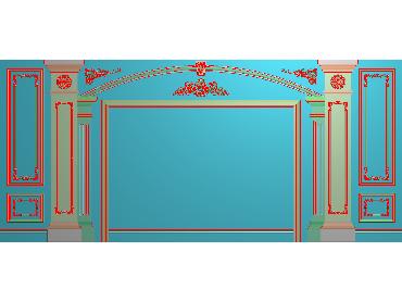 OBJQ034-JDP格式欧式整体背景墙精雕图电视背景墙电脑雕刻图背景墙浮雕精雕图(含灰度图)