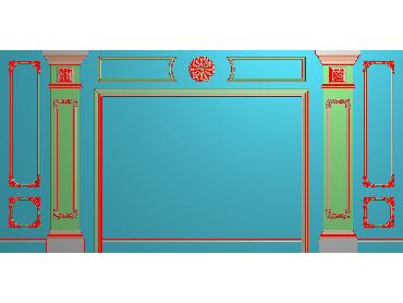 OBJQ036-JDP格式欧式整体背景墙精雕图电视背景墙电脑雕刻图背景墙浮雕精雕图(含灰度图)