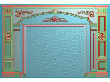 OBJQ038-JDP格式欧式整体背景墙精雕图电视背景墙电脑雕刻图背景墙浮雕精雕图(含灰度图)
