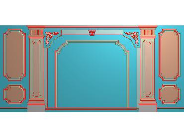 OBJQ039-JDP格式欧式整体背景墙精雕图电视背景墙电脑雕刻图背景墙浮雕精雕图(含灰度图)