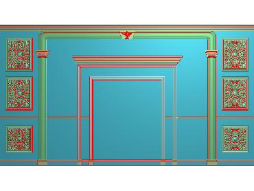 OBJQ040-JDP格式欧式整体背景墙精雕图电视背景墙电脑雕刻图背景墙浮雕精雕图(含灰度图)