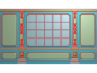 OBJQ043-JDP格式欧式整体背景墙精雕图电视背景墙电脑雕刻图背景墙浮雕精雕图(含灰度图)
