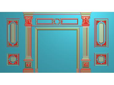 OBJQ047-JDP格式欧式整体背景墙精雕图电视背景墙电脑雕刻图背景墙浮雕精雕图(含灰度图)