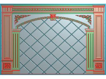 OBJQ049-JDP格式欧式整体背景墙精雕图电视背景墙电脑雕刻图背景墙浮雕精雕图(含灰度图)
