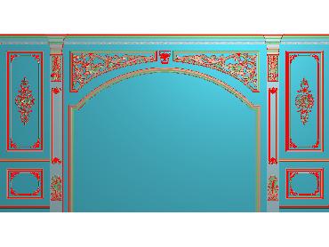 OBJQ050-JDP格式欧式整体背景墙精雕图电视背景墙电脑雕刻图背景墙浮雕精雕图(含灰度图)