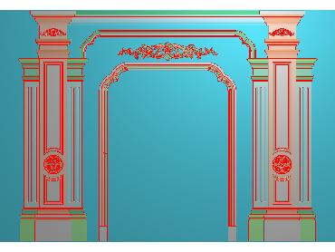 OBJQ051-JDP格式欧式整体背景墙精雕图电视背景墙电脑雕刻图背景墙浮雕精雕图(含灰度图)