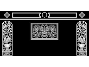 OBJQ110-JDP格式欧式整体背景墙精雕图电视背景墙电脑雕刻图背景墙浮雕精雕图(含灰度图)