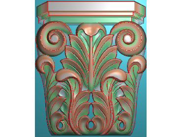 ZBZT003-JDP格式欧式柱托洋花精雕图罗马柱洋花精雕图柱头洋花雕刻图(含灰度图)