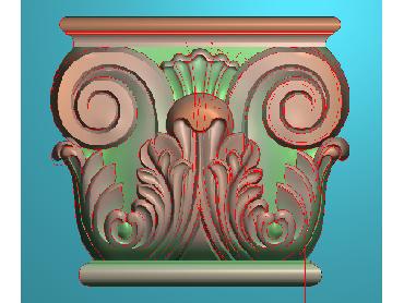 ZBZT015-JDP格式欧式柱托洋花精雕图罗马柱洋花精雕图柱头洋花雕刻图(含灰度图)