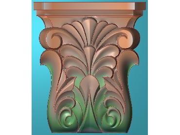 ZBZT021-JDP格式欧式柱托洋花精雕图罗马柱洋花精雕图柱头洋花雕刻图(含灰度图)