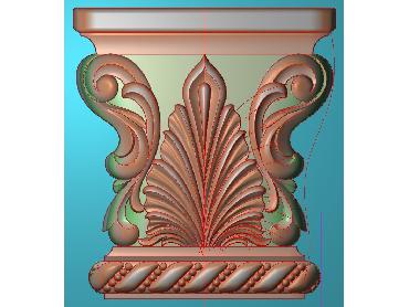 ZBZT024-JDP格式欧式柱托洋花精雕图罗马柱洋花精雕图柱头洋花雕刻图(含灰度图)
