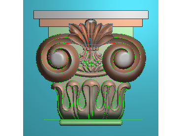 ZBZT034-JDP格式欧式柱托洋花精雕图罗马柱洋花精雕图柱头洋花雕刻图(含灰度图)