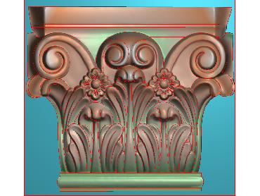 ZBZT042-JDP格式欧式柱托洋花精雕图罗马柱洋花精雕图柱头洋花雕刻图(含灰度图)