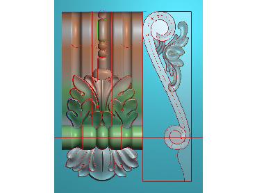 ZBZT055-JDP格式欧式柱托洋花精雕图罗马柱洋花精雕图柱头洋花雕刻图(含灰度图)