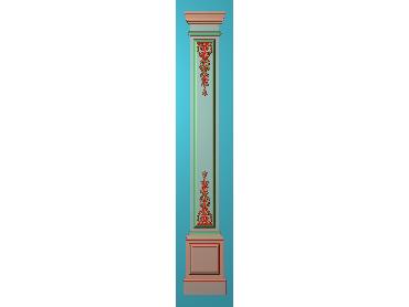 ZBZT143-JDP格式欧式柱板洋花精雕图罗马柱板洋花精雕图长条柱板洋花雕刻图(含灰度图)