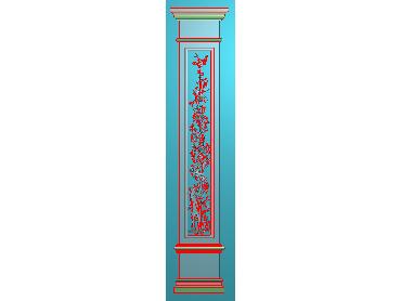 ZBZT164-JDP格式欧式柱板洋花精雕图罗马柱板洋花精雕图长条柱板洋花雕刻图(含灰度图)