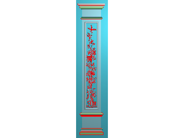 ZBZT166-JDP格式欧式柱板洋花精雕图罗马柱板洋花精雕图长条柱板洋花雕刻图(含灰度图)