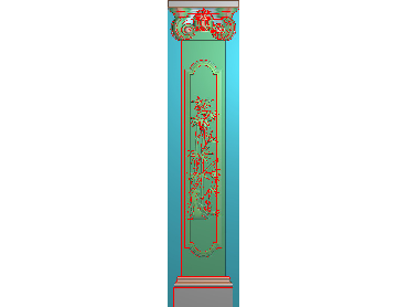 ZBZT169-JDP格式欧式柱板洋花精雕图罗马柱板洋花精雕图长条柱板洋花雕刻图(含灰度图)