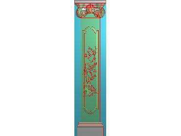 ZBZT170-JDP格式欧式柱板洋花精雕图罗马柱板洋花精雕图长条柱板洋花雕刻图(含灰度图)