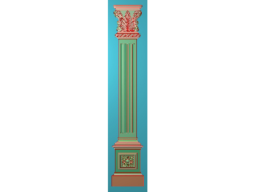 ZBZT183-JDP格式欧式柱板洋花精雕图罗马柱板洋花精雕图长条柱板洋花雕刻图(含灰度图)
