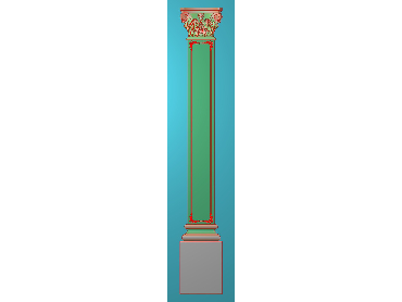 ZBZT189-JDP格式欧式柱板洋花精雕图罗马柱板洋花精雕图长条柱板洋花雕刻图(含灰度图)