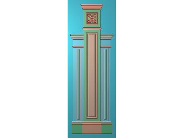 ZBZT195-JDP格式欧式柱板洋花精雕图罗马柱板洋花精雕图长条柱板洋花雕刻图(含灰度图)