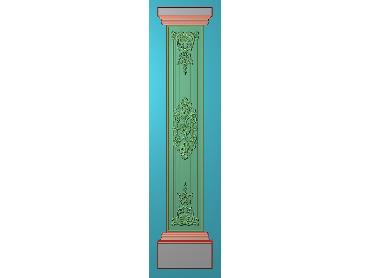 ZBZT198-JDP格式欧式柱板洋花精雕图罗马柱板洋花精雕图长条柱板洋花雕刻图(含灰度图)