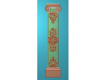 ZBZT199-JDP格式欧式柱板洋花精雕图罗马柱板洋花精雕图长条柱板洋花雕刻图(含灰度图)