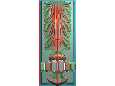 ZBZT205-JDP格式欧式柱板洋花精雕图罗马柱板洋花精雕图长条柱板洋花雕刻图(含灰度图)