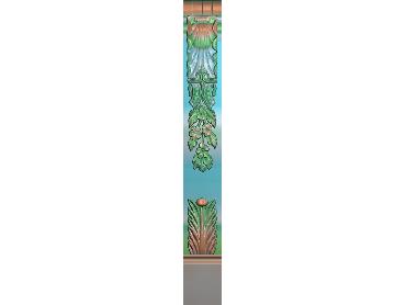 ZBZT210-JDP格式欧式柱板洋花精雕图罗马柱板洋花精雕图长条柱板洋花雕刻图(含灰度图)