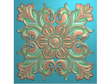 OUFH018-JDP格式欧式方形洋花精雕图方花电脑雕刻图方形洋花精雕图方块贴花精雕图欧式方形洋花灰度图(含灰度图)
