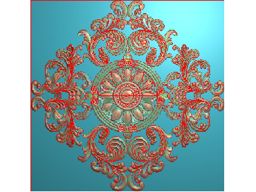 OUFH021-JDP格式欧式方形洋花精雕图方花电脑雕刻图方形洋花精雕图方块贴花精雕图欧式方形洋花灰度图(含灰度图)