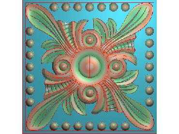 OUFH022-JDP格式欧式方形洋花精雕图方花电脑雕刻图方形洋花精雕图方块贴花精雕图欧式方形洋花灰度图(含灰度图)