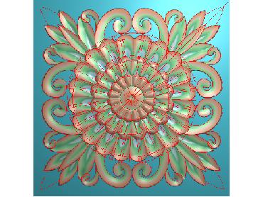 OUFH032-JDP格式欧式方形洋花精雕图方花电脑雕刻图方形洋花精雕图方块贴花精雕图欧式方形洋花灰度图(含灰度图)