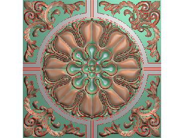 OUFH062-JDP格式欧式方形洋花精雕图方花电脑雕刻图方形洋花精雕图方块贴花精雕图欧式方形洋花灰度图(含灰度图)