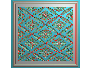 OUFH112-JDP格式欧式方形洋花精雕图方花电脑雕刻图方形洋花精雕图方块贴花精雕图欧式方形洋花灰度图(含灰度图)