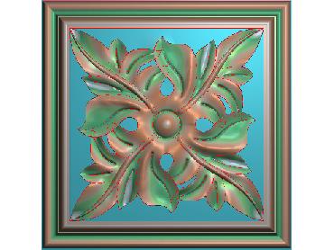 OUFH149-JDP格式欧式方形洋花精雕图方花电脑雕刻图方形洋花精雕图方块贴花精雕图欧式方形洋花灰度图(含灰度图)