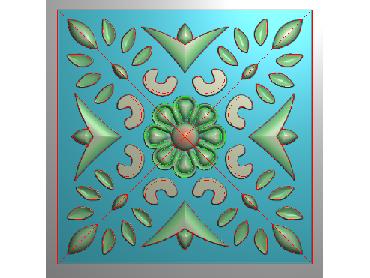 OUFH171-JDP格式欧式方形洋花精雕图方花电脑雕刻图方形洋花精雕图方块贴花精雕图