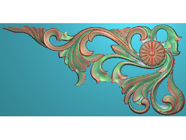 OUJH052-JDP格式欧式洋花电脑精雕图角花精雕图边角贴花雕刻图(含灰度图)
