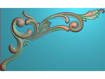 OUJH055-JDP格式欧式洋花电脑精雕图角花精雕图边角贴花雕刻图(含灰度图)