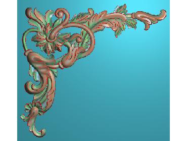 OUJH106-JDP格式欧式洋花电脑精雕图角花精雕图边角贴花雕刻图(含灰度图)