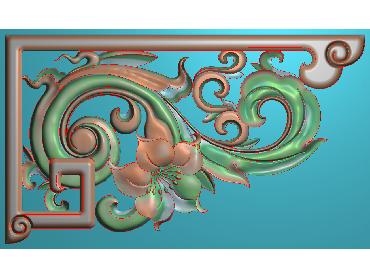 OUJH215-JDP格式欧式洋花电脑精雕图角花精雕图边角贴花雕刻图(含灰度图)