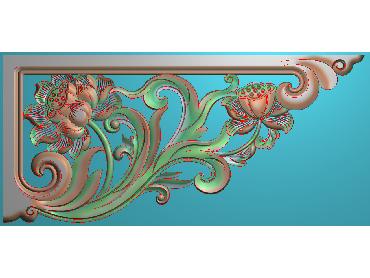 OUJH220-JDP格式欧式洋花电脑精雕图角花精雕图边角贴花雕刻图(含灰度图)