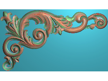 OUJH221-JDP格式欧式洋花电脑精雕图角花精雕图边角贴花雕刻图(含灰度图)