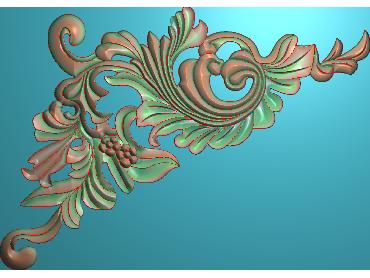 OUJH252-JDP格式欧式洋花电脑精雕图角花精雕图边角贴花雕刻图(含灰度图)