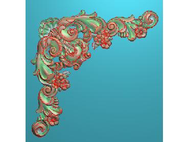 OUJH277-JDP格式欧式洋花电脑精雕图角花精雕图边角贴花雕刻图(含灰度图)