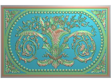 QTYH187-JDP格式欧式洋花精雕图欧式贴花雕刻图中式洋花电脑精雕图